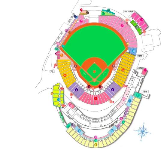 マツダスタジアムの座席表の画像やキャパは?